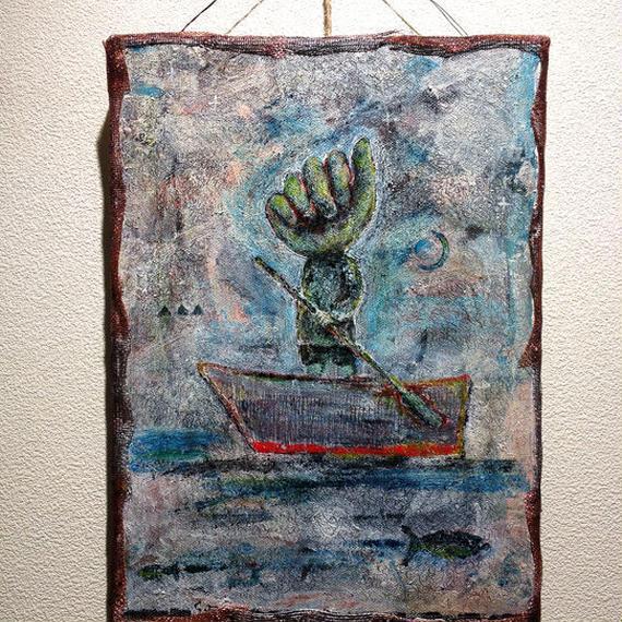 ST035小舟と少年の絵「櫂-kai-」左藤芳美