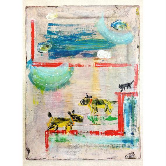ST044犬と猫の風景「よく晴れた日に」左藤芳美