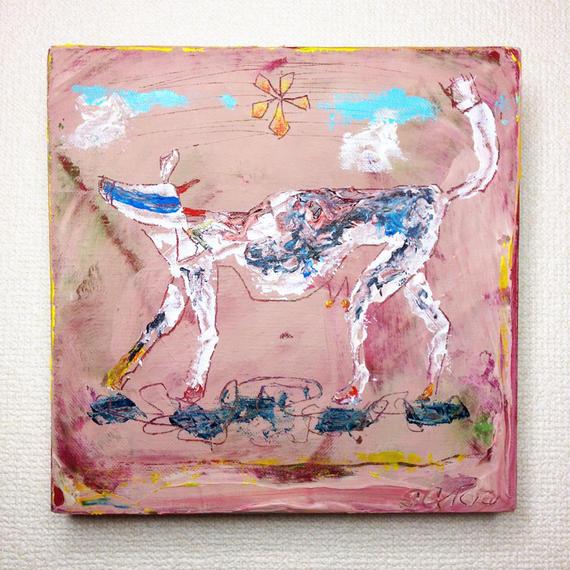 ST045牛の絵「August cow」左藤芳美
