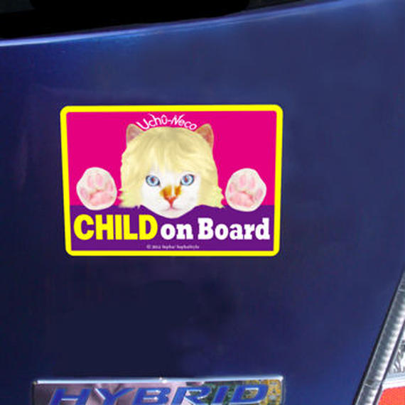 """High Quality & Durable Magnet Sign """"CHILD On Board!""""- Uchû-Neco (Super Cat From Outer Space)"""