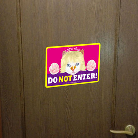 """High Quality & Durable Magnet Sign """"DO Not Enter!""""- Uchû-Neco (Super Cat From Outer Space)"""