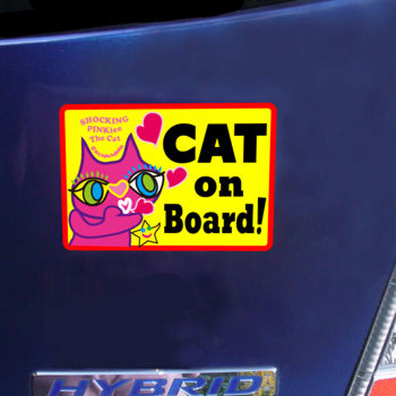 """High Quality & Durable Magnet Sign """"CAT on Board!"""" - No whiskers SPTC Special Design Limited"""