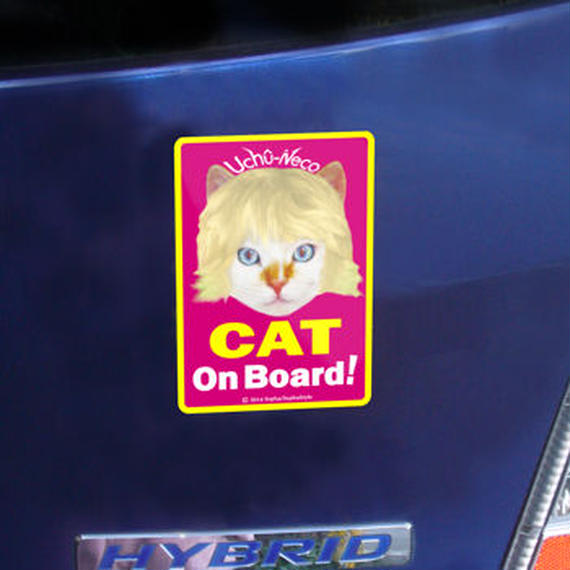 """High Quality & Durable Magnet Sign """"CAT On Board!""""- Uchû-Neco (Super Cat From Outer Space)"""