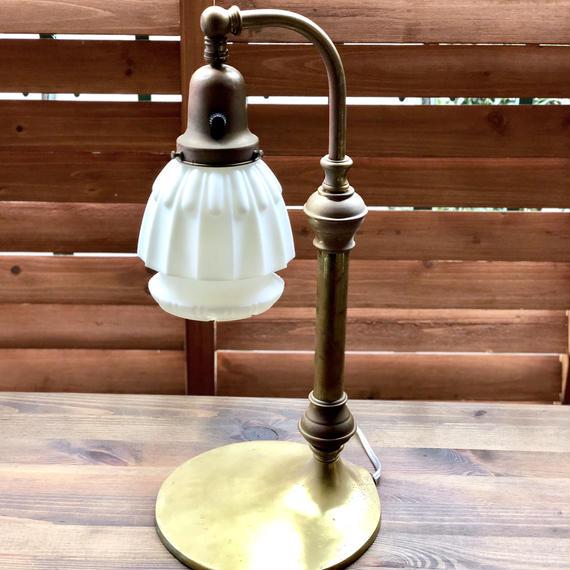 ビンテージ  30-40's ガラス×アイアン テーブルランプ