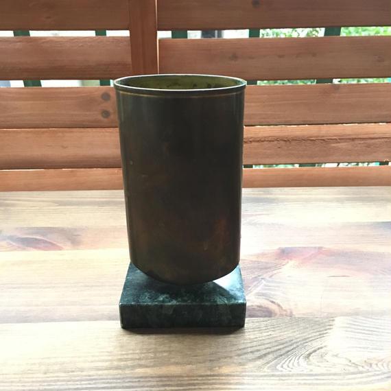 ビンテージ 真鍮×ストーン ペンホルダー