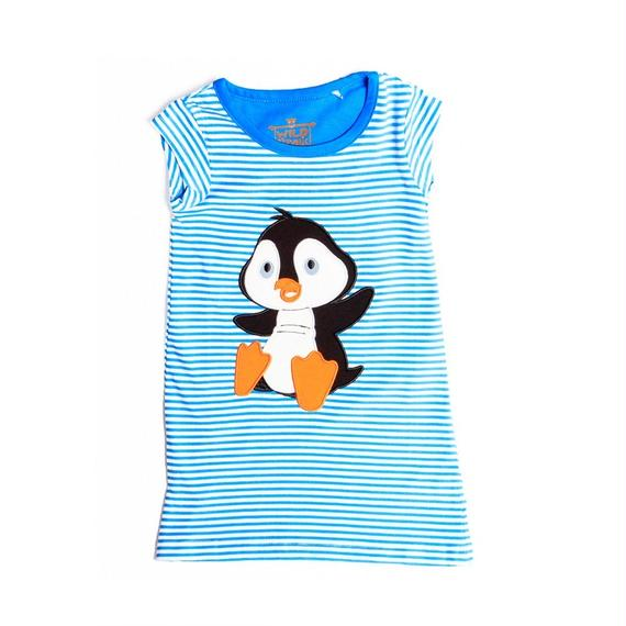 キッズ ワンピース ペンギン ブルー 100%オーガニックコットン GOTS認定