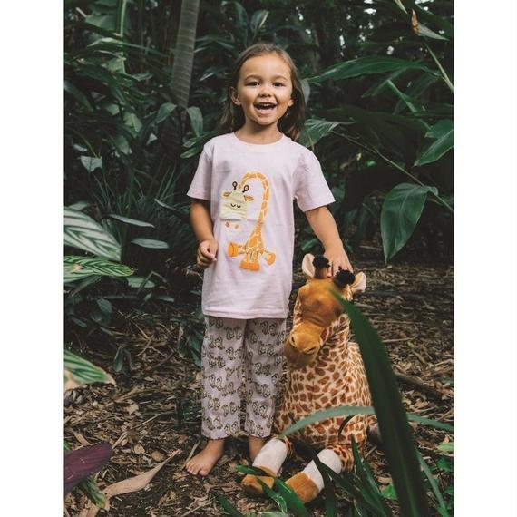 子供用 パジャマ 上下セット キリン柄 ピンク 100%オーガニックコットン GOTS認定品