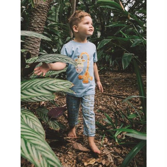 子供用 パジャマ 上下セット キリン柄 ブルー 100%オーガニックコットン GOTS認定品