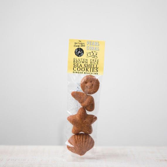 Brown Rice Sea Shell Cookies -Macrobiotic Gluten-Free / Pearl, Coral & Star