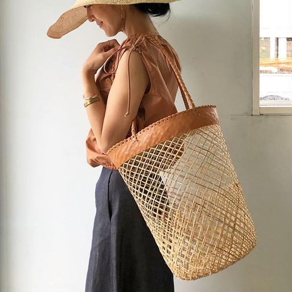 Bamboo x Leather Basket / S