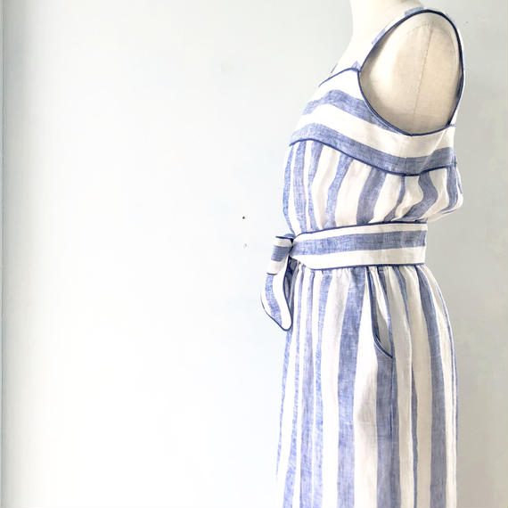 Linen Stripe  Dress / KiiRA