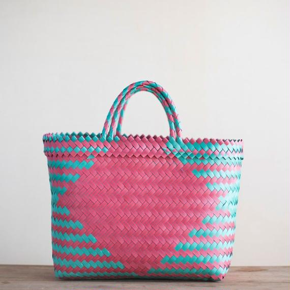Medium Straw Basket - Green & Pink