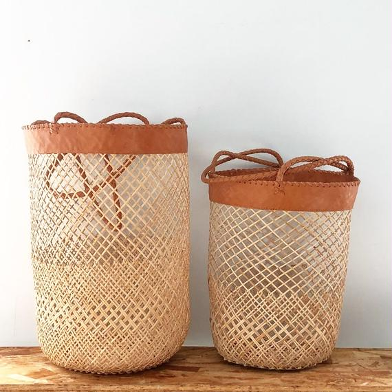 Bamboo x Leather Basket / L