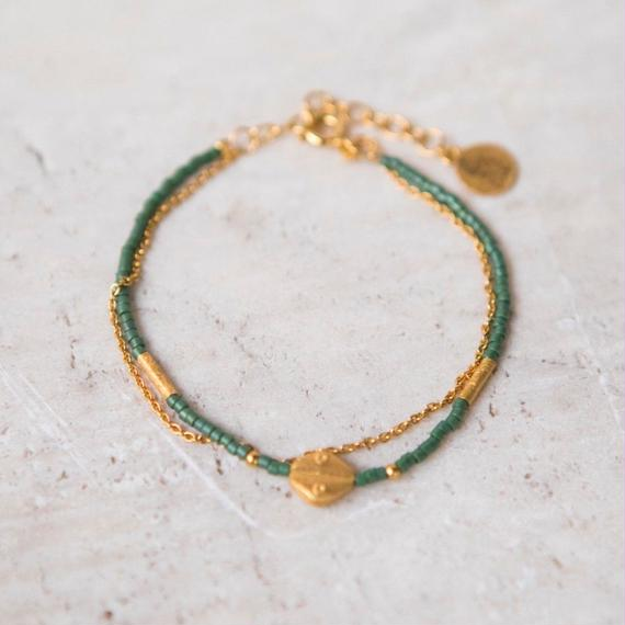 Jola Bracelet Olive Green Seed Bead Gold / Temple of the Sun