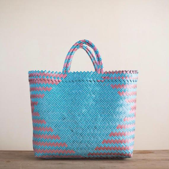 Large Straw Basket - Green & Pink