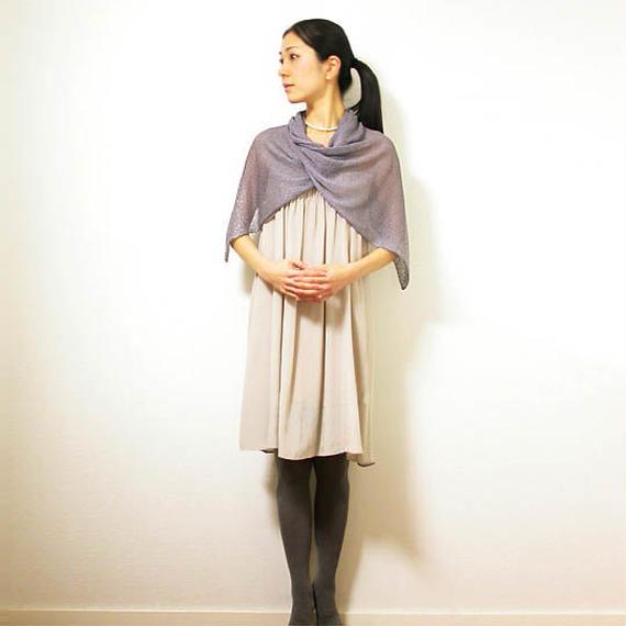 ◆即納◆Saiph[サイフ] 裾ラメ・エアリーストール / ミドル・グレー