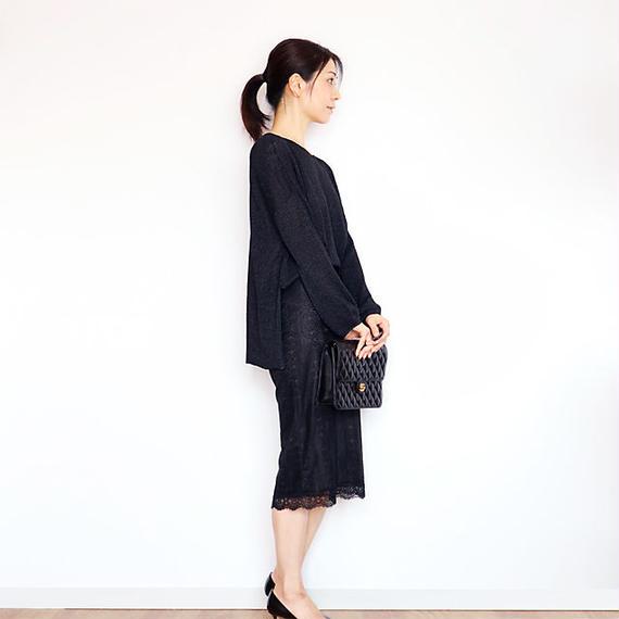 ◆即納◆Leonis[レオニス] ボクシー・セーター7(ラメ) / ブラック / Mサイズ
