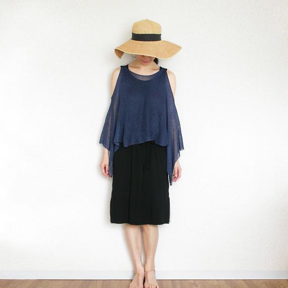 ◆即納◆Scutum[スクトゥム] ベアショルダー・ポンチョ短丈 / ネイビー・ブルー