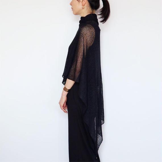 ◆即納◆Norma[ノルマ] ボーダーラメ・ベーシック・ストール / ブラック(黒ラメ入り)