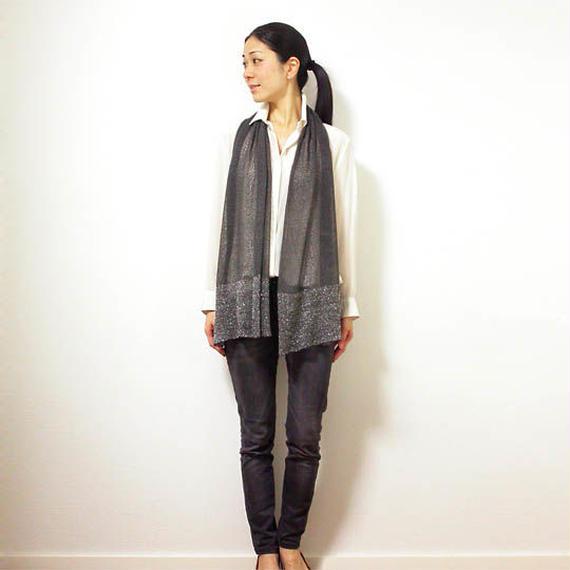 ◆即納◆Saiph[サイフ] 裾ラメ・エアリーストール / ディープフォレスト・グレー