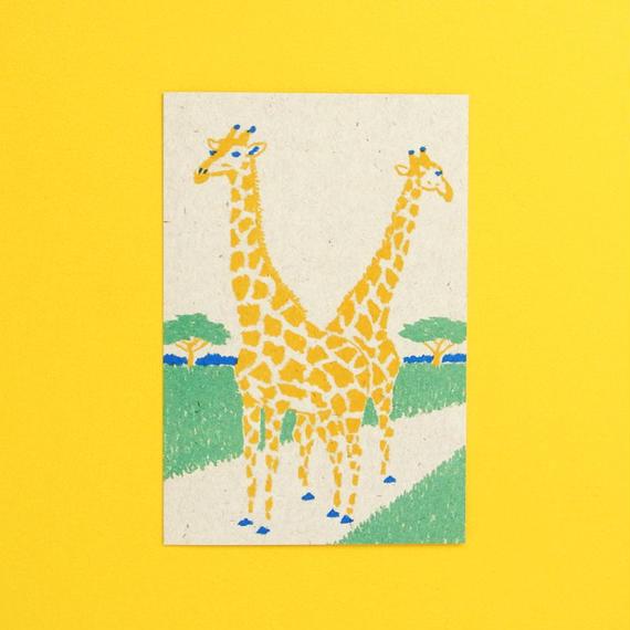 レトロポストカード/キリン
