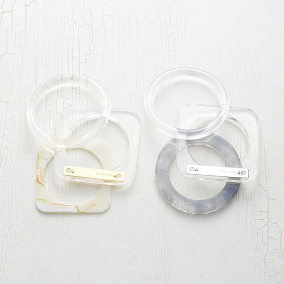 Layered clear bangle (3P)