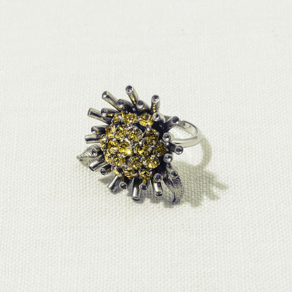 Sun flower ring (Yellow / With Leaf)