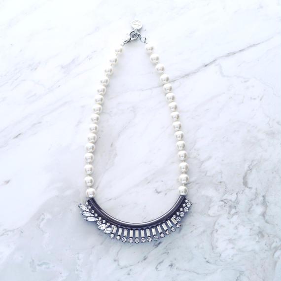 Line bijou pearl necklace (Silver)
