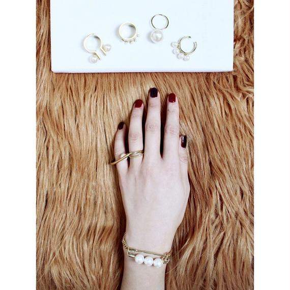 Safety pin chain bracelet (Pearl)