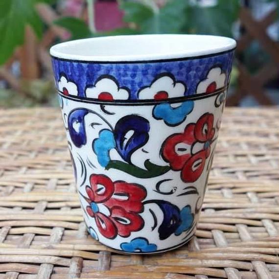 cup-4  手描きのトルコ・キュタフヤ陶器カップ(カーネーション)