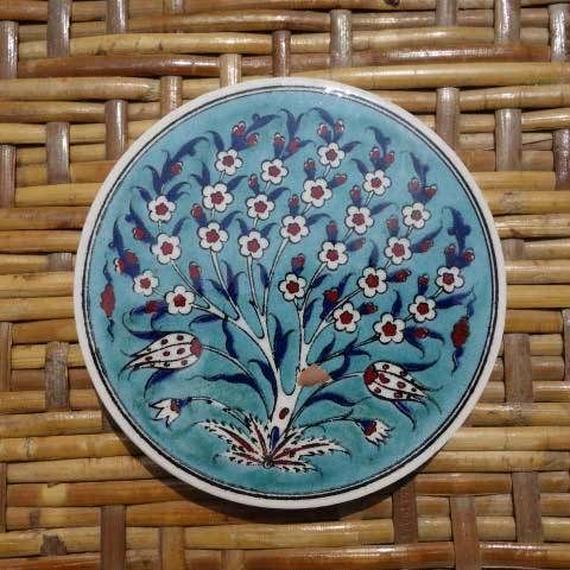 ★tpc-14  繊細なトルコ・プリント陶器コースター(生命の樹)