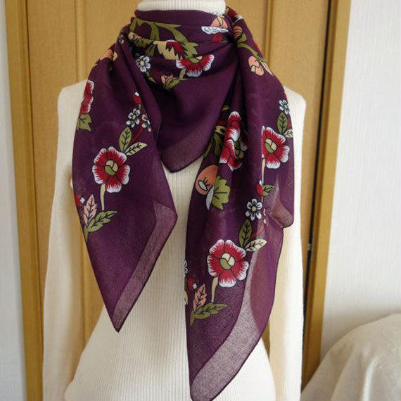 turcl5   繊維の宝庫トルコのふわっと軽いコットンスカーフ(プラム)L