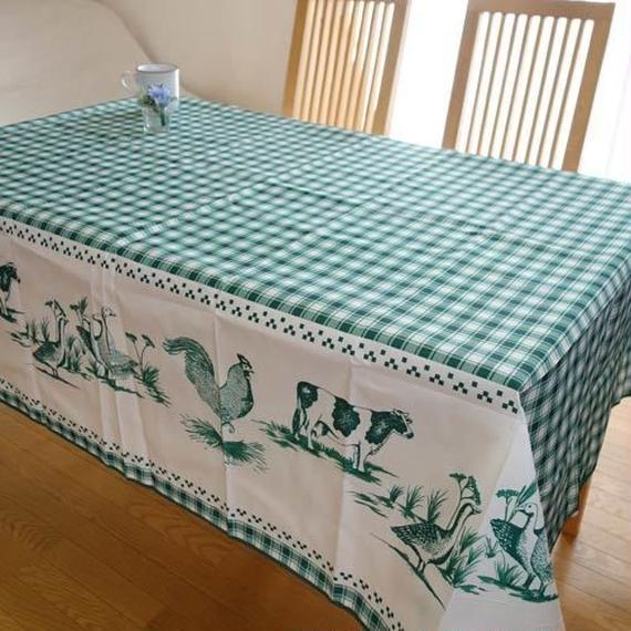 pv016-200   プロヴァンス テーブルクロス 長方形150×200(鳥&牛グリーン)