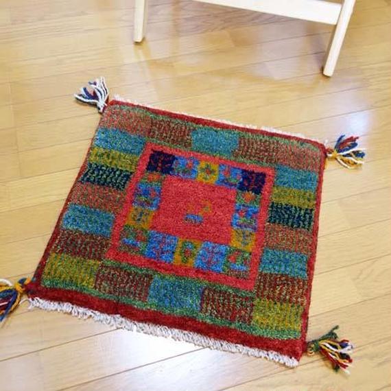 gz-alo18★ギャッベ(GABBEH)手織りのラグ 座布団(動物と植物のモチーフ/パッチワーク)