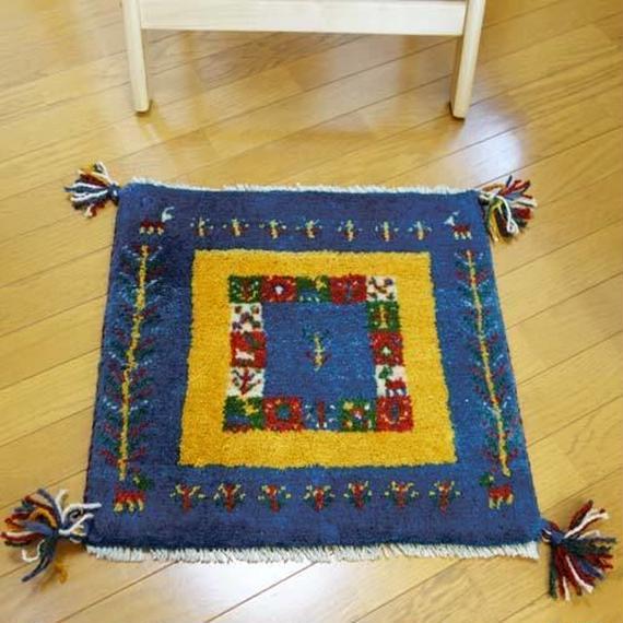 gz-alo22★ギャッベ(GABBEH)手織りのラグ 座布団(動物と植物のモチーフ/インディゴ&マスタード)