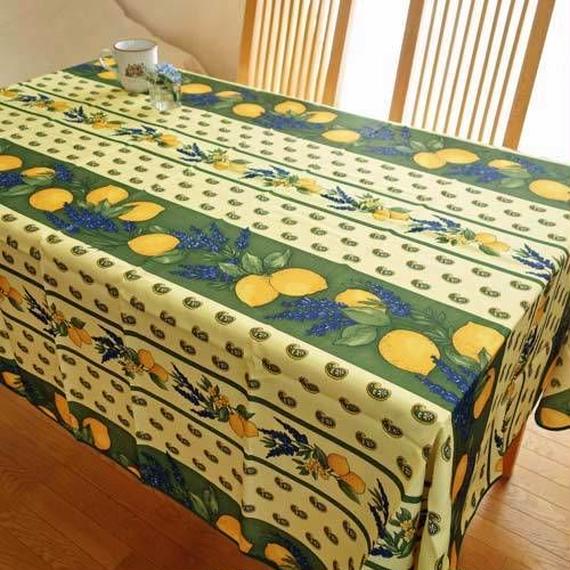 pv057-240           プロヴァンス テーブルクロス 長方形150×240(レモン&グリーン)