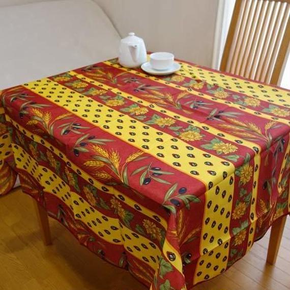 pv025-150         プロヴァンス テーブルクロス 正方形150×150(ひまわりとオリーブ・レッド&イエロー)