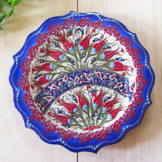 plate18-2★繊細な手描きのトルコ・キュタフヤ陶器(プレート18cm)