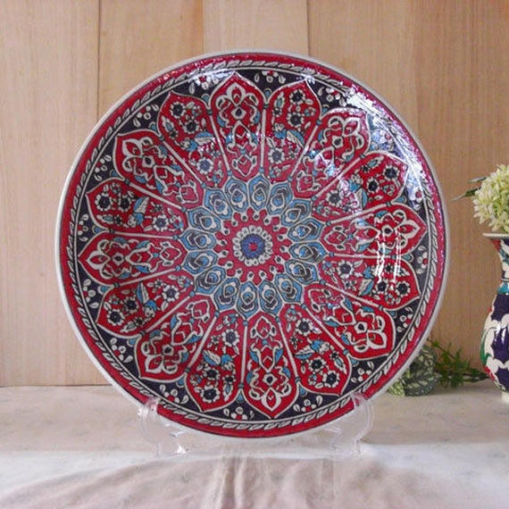 tkp30-7  ★繊細な手描きのトルコ・キュタフヤ陶器(プレート30cm)