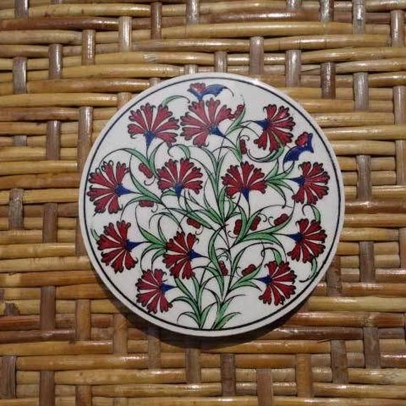 ★tpc-6  繊細なトルコ・プリント陶器コースター(カーネーション)