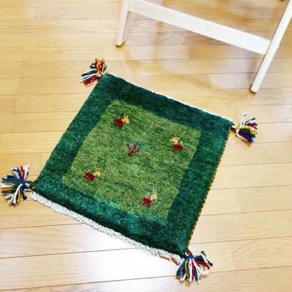gz-alo19★ギャッベ(GABBEH)手織りのラグ 座布団(動物と植物のモチーフ/グリーン)