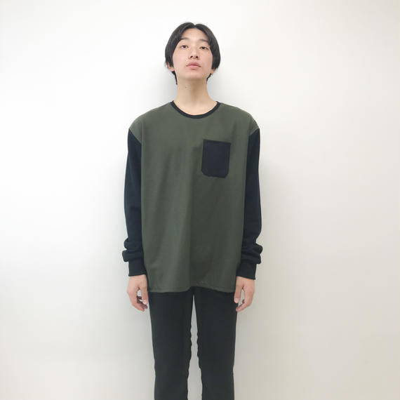NICK NEEDLES / WOOL  SWEAT / KHAKI×BLACK