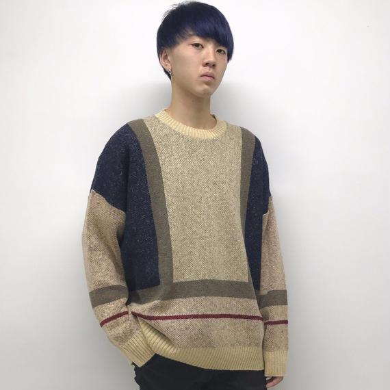 elephant TRIBAL fabrics  /  Wide Tam Knit / beige×navy
