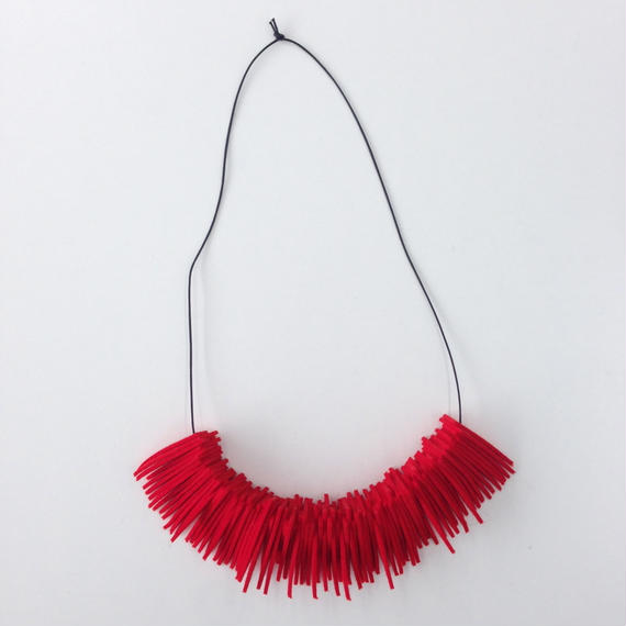 NICK NEEDLES Felt Necklace Triangle Red