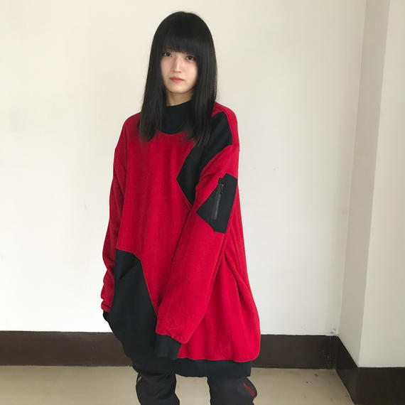 NICK NEEDLES / WOOL MIX SWEAT / RED×BLACK