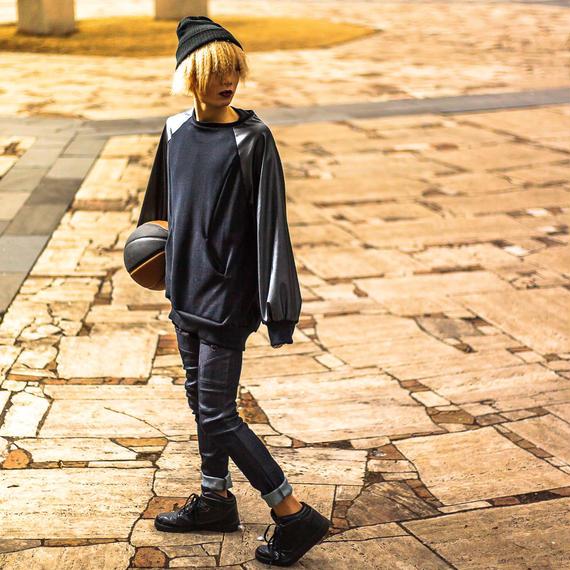 NICK NEEDLES Leather Sleeves Sweat