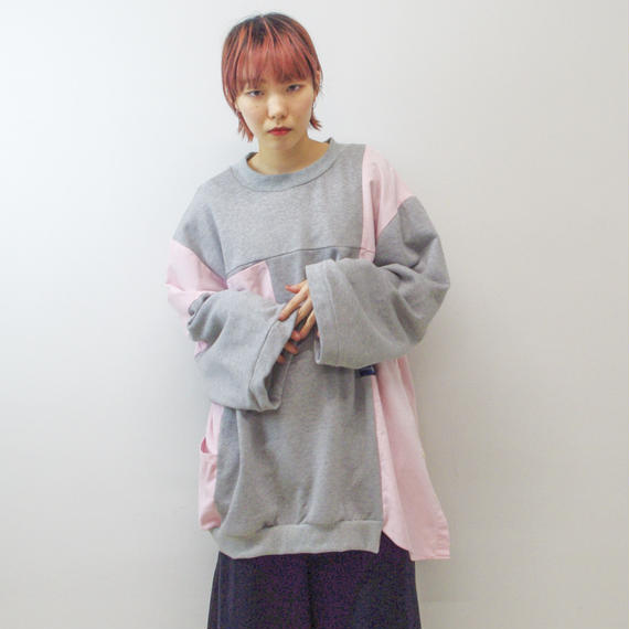 SHTTLE / シャツリメイクスウェット/ (pink,gray)
