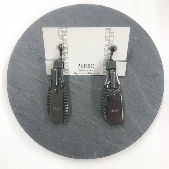 PERSO / ジッパーイヤリングorピアス / ブラックニッケル