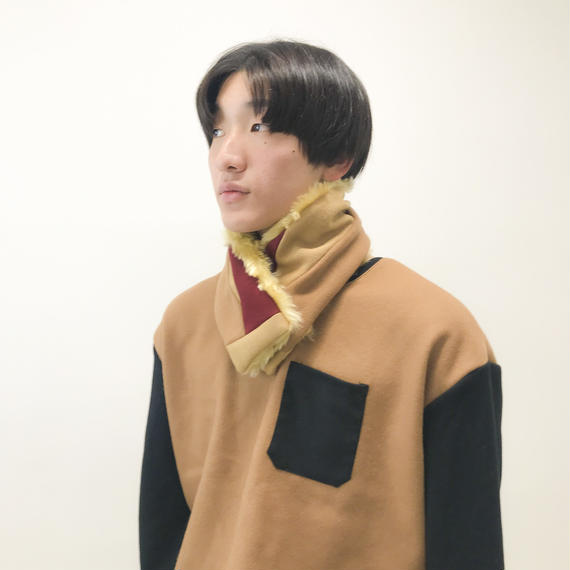 NICK NEEDLES / MIX NECK WARMER  / CAMEL×RED