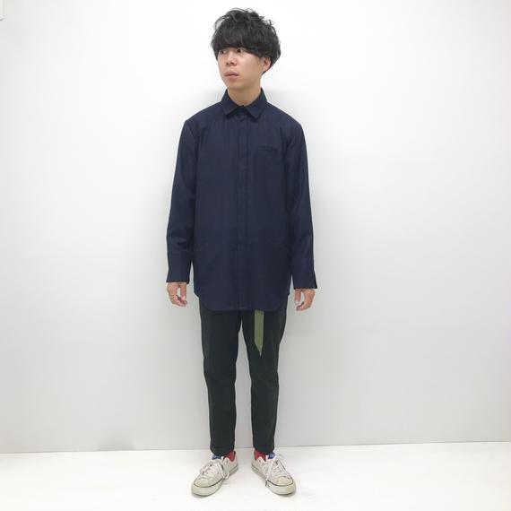 KONYA / ウールレーヨンシャツ / ネイビー